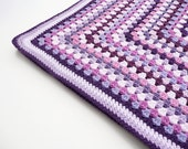 Crochet baby blanket pink and purple granny square stripes