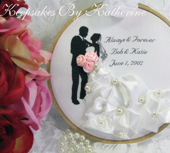 Made To Order, Bride and Groom Embroidery Art, Newlywed Gift, Bridal Gift, Wedding Keepsake