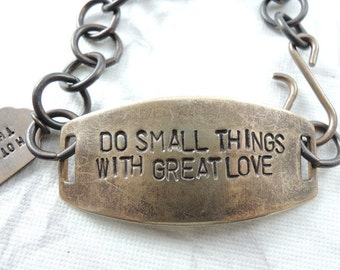 Do Small Things with Great Love -  Mother Theresa Quote, Hand Stamped brass Bracelet, Hand Stamped Jewelry