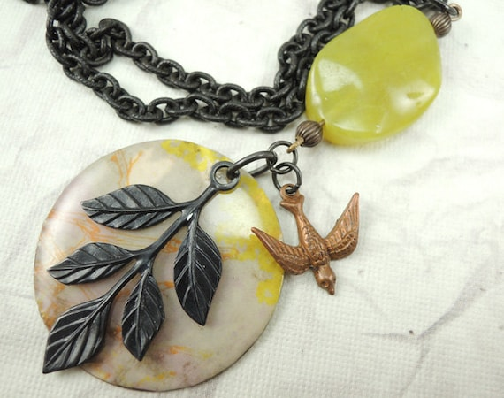 Mixed Metal necklace with lime green gemstone, Arte Metal branch, Copper bird charm