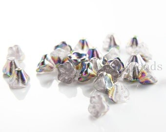 30 Pieces Czech Bell Flower - Vitral Crystal 8x6mm (V0003) (L-203)