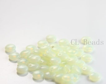 50pcs Czech Glass Beads - Lentils with One Hole - Milky Jonquil 6mm (81000) (L-137)