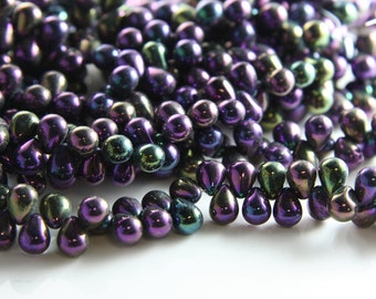 50pcs Czech Glass Tear Drops-Iris Purple 8x6mm (8621495) (B-9-5)