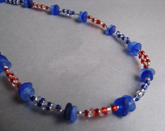 Beach Glass Necklace - Cobalt Blue - Sea Glass Necklace - Rare Cornflower Blue - Beadwork Necklace - Ocean Jewelry - Seaside Beaded Necklace