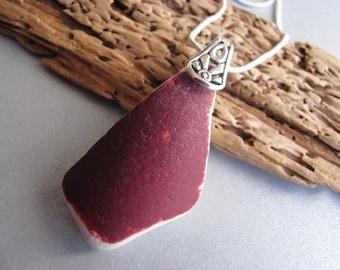 Red Ceramic Necklace - Sea Glass Jewelry - Beach Glass Jewelry - Showstopper Ceramic Pendant - Sea Glass Gift - Unique Ceramic Jewelry
