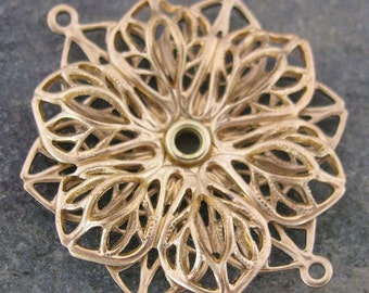 New - Flower Filigree Connector Link Jewelry Finding 1390 - 2 Pieces