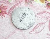 Nickel Charm for your Pocket ..Includes 4 words. Hand stamped, hammered coin w/custom phrase, date, initial, name stamped . Love Anniversary