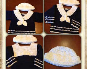 Navy blue Sailor sweater and hat with matching pants  0-3 months