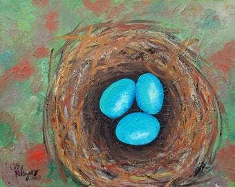 Original Oil Painting Robin's Eggs Bird Nest