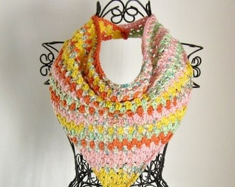 Triangle Scarf, Womens Crochet Cowl in Summer Colors, Ladies Scarflette, Kerchief Scarf, Spring Summer Fashion Accessories