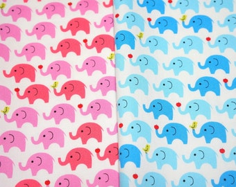 Tiny Elephant Print Japanese fabric 2 colors combination