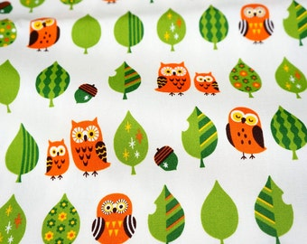 Owl and Tree Print   print Japanese Fabric Half meter 50 cm by 106 cm or 19.6 by 42 inches nc41