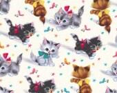 One (1) Yard- Kitties Vintage Style Print Fabric Michael Miller CX3696-CREM-D
