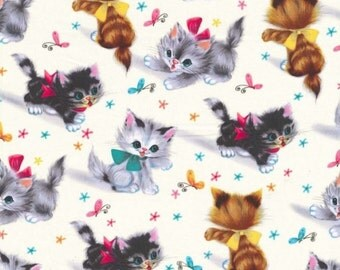 Two (2) Yards- Kitties Vintage Style Print Fabric Michael Miller CX3696-CREM-D
