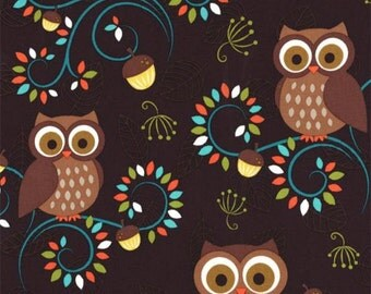FAT QUARTER -Happy Hooters on Dark Brown Fabric Michael Miller CX5967-FORE-D