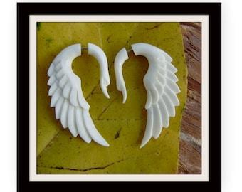 Fake gauge earrings, Natural White Bone , tribal style ,Anela hawaii  ,hand craved,cheater earrings