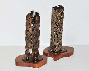 Mid Century Modern Architectural Cityscape Metal Sculptures on Wood Bases, Pair, circa 1960s