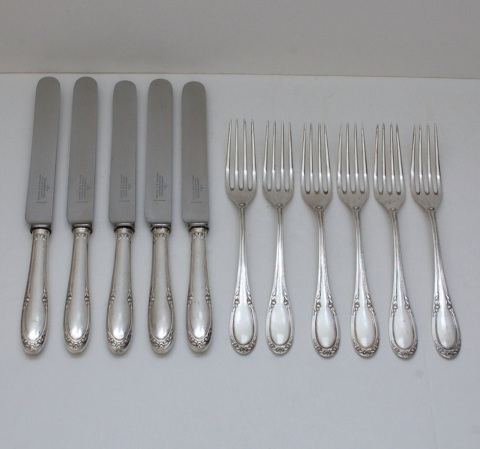 Antique German Sterling Silver 800 Continental Flatware Set