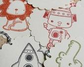 Kids/Children Tags For Favors, Gifts, Showers - robot, truck, alligator, dog, lion, rocket, spaceship