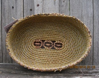 Coiled Pine Needle Basket with Walnut Slices-Oval in shape