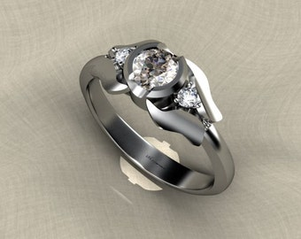 9ct white gold ring with diamonds (diamond engagement ring)