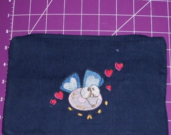 Luv-a-bug embroidery Dark Denim Zipper Pouch fully lined with pockets