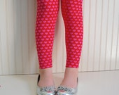 Heart Leggings Heart Tights Red and Pink Hearts Valentine's Day Leggings Girls valentines leggings girls heart leggings