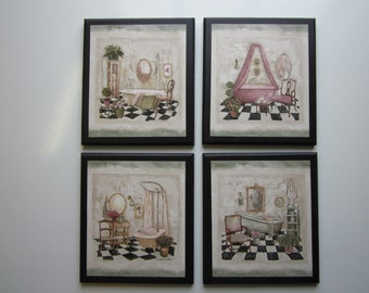 Bathtubs Fancy Antique French or English Cottage Style Bathroom wall decor plaque set 4pc wood signs