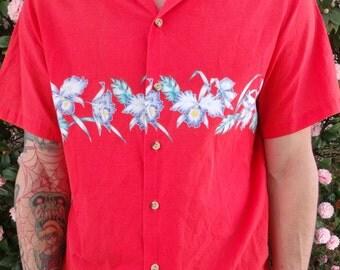 Vintage 60's Mens Shirt. Hawaiian Surfer Shirt. Vintage VLV. Tiki. Luau Shirt