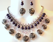 Rose Bib Necklace Set - Purple Crystal Pearl - Statement Necklace - Swarovski Bicones - Lilac - Eggplant - Silver Tone Rose Beads