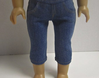 American Girl 18 inch Doll Straight Leg Capri Jeans Medium Wash