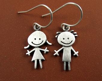 Happy boy & girl earrings