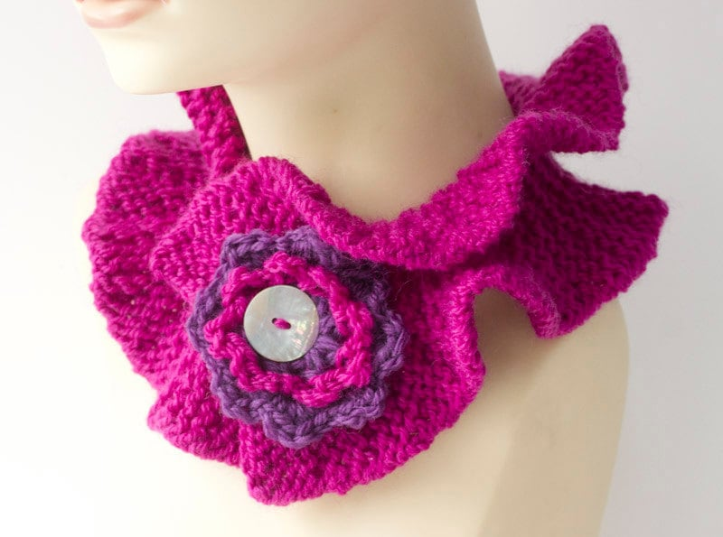 Knitting Pattern For Ruffled Neck Warmer With Crocheted