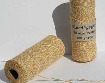 Mustard and White Bakers Twine - Mustard Yellow Bakers Twine - Scrapbooking Twine - Craft Supplies - 100 yards of 4 Ply Twine