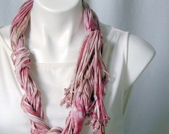 The Soba Scarf in Pink Honeysuckle and Cafe au Lait