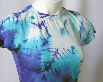 ZigZags and Feathers and Buttons, Oh My - in White, Turquoise & Purple Shibori Tee (xxs)