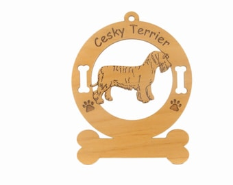 2088 Cesky Terrier Dog Standing Personalized Wood Ornament