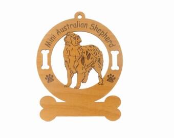 1412 Mini Australian Shepherd Dog Standing Personalized Wood Ornament