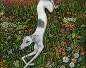 The Last Dance at Sunset - Whippet Art Print  - LARGE PRINT