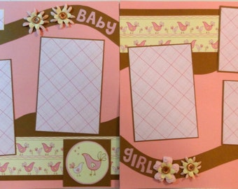 BABY GIRL 12 x 12 premade scrapbook pages - girl