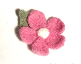 Pink Felt Flower Brooch