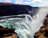 Iceland Waterfall Photograph, 8x12 Fine Art Print Gulfoss Waterfall, Landscape, Nature, Water - Gulfoss .