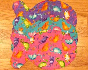 Fish Shaped Cat Placemat, Pink, Purple Feeding Mat, Reversible Pet Placemat