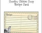 Instant Download....Country Chicken Coop Recipe card Printable DIY 4x6 wilchildcreationz