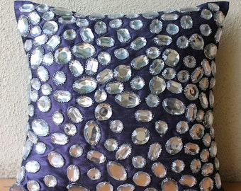 """Purple Throw Pillows Cover For Couch, 16""""x16"""" Silk Pillow Covers, Square  Rhinestones And Crystals Throw Pillows Cover - Diamante Sparkle"""