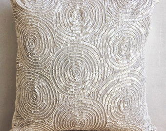 "Designer Ivory Pillow Covers, Spiral Sequins Antique Pillows Cover Square  18""x18"" Silk Throw Pillows Cover - Ivory Swirls"