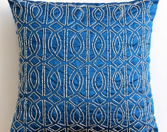 "Royal Blue Accent Pillows, 16""x16"" Silk Throw Pillows Cover, Square  Lattice Trellis Pattern Geometric Pillows Cover - Geometric Royal Blue"