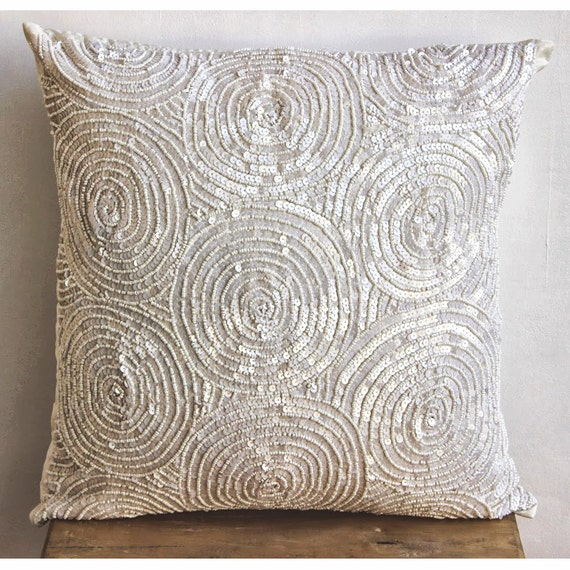 Designer Ivory Pillow Covers 16x16 Silk Throw