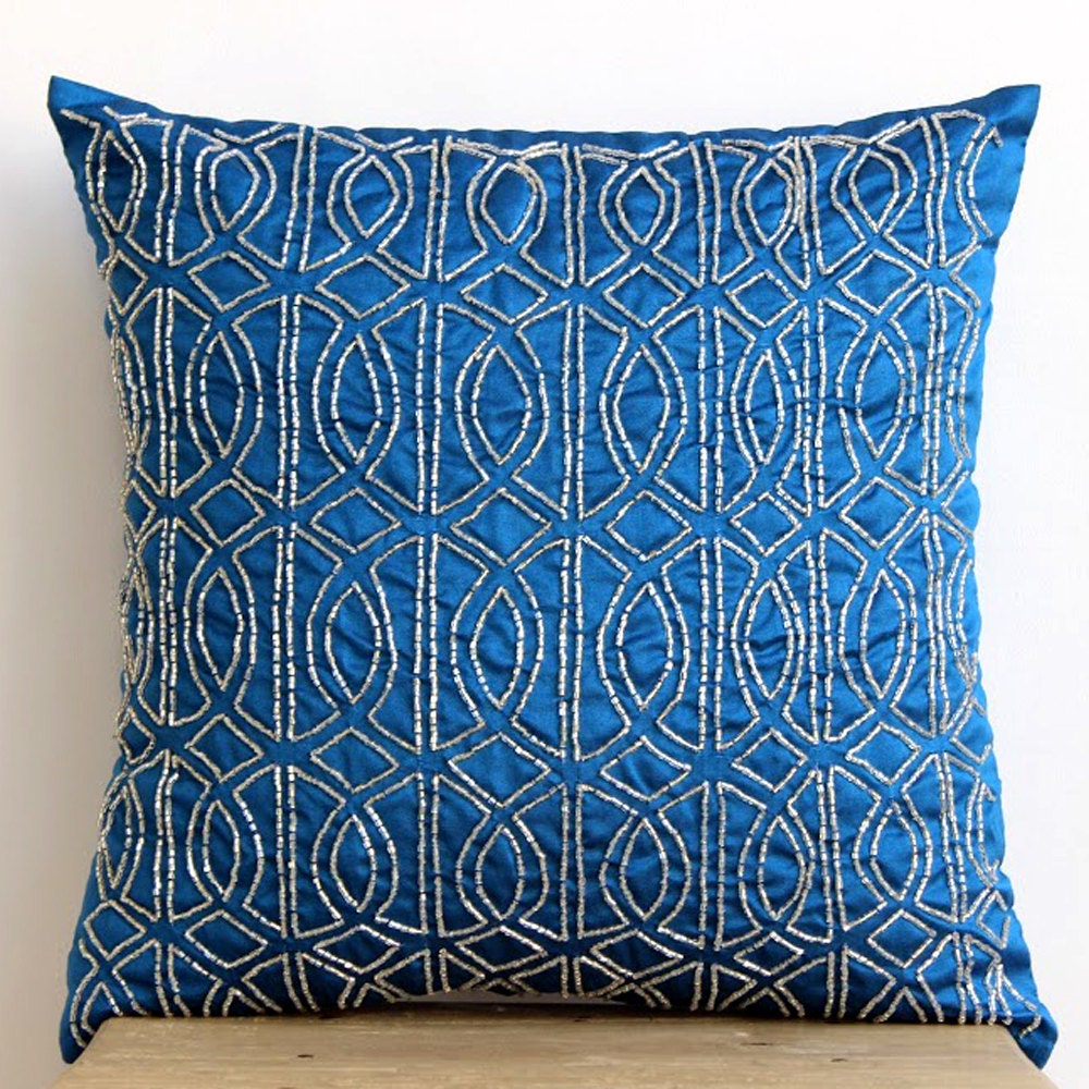 Decorative Pillows Etsy : Royal Blue Accent Pillows 16x16 Silk Throw