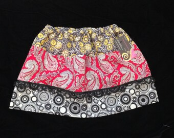 Girls Bohemian size  5/6 girls skirt with lace Trim . Hand made ready to ship One of a Kind